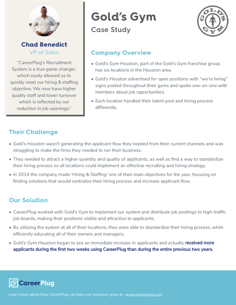 Case study of Chad Benedict's, VP of Sales at Gold's Gym, success with CareerPlug's hiring software